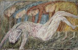 Положение во гроб. Холст, масло. 68х107 см. 1986