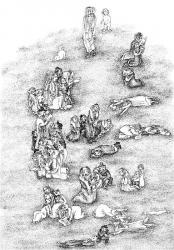 Ушедшие к Богу. Paper, ink, pen. 40х32 см. 1993