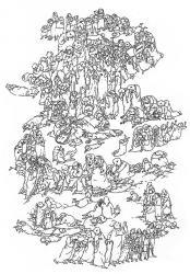 Der Festzug (Bundeslade). Papier, Tusche, Feder. 42x30 cm. 1995