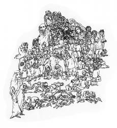 Meine Familie. Papier, Tusche, Feder. 20x16 cm. 1993