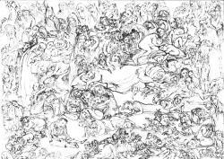 Aus dem Zyklus »Klagemauer«. Papier, Tusche, Stäbchen. 32x42 cm. 1994