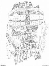 Галерея, бум., тушь, перо, 32х24, 1997