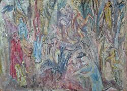 Вспоминаю зиму в Переславле. Картон, масло. 50х80 см. 1983