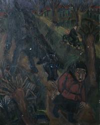 Старуха с коровой. Oil on canvas. 76х60. 1978
